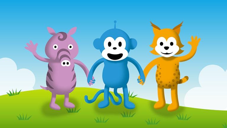 Korta roliga program med Radioapan och hans vänner Tassa och Emmot.
