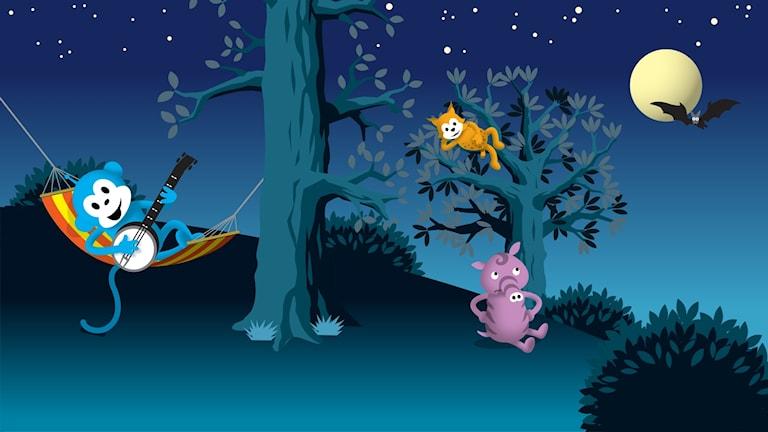 Radioapan, Tassa och Emmot sover över ute i Sagoskogen.