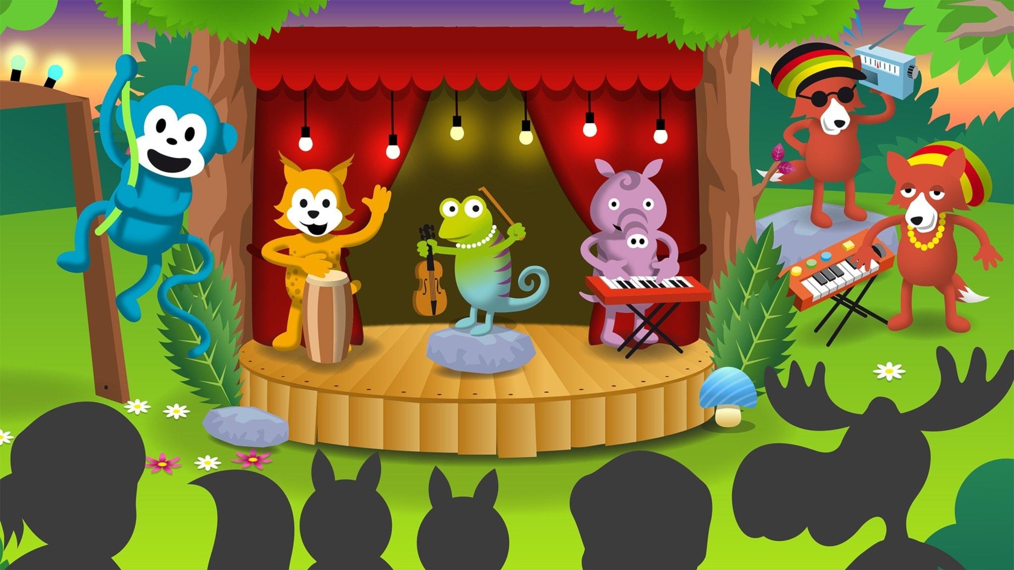 Radioapan och hans kompisar på en scen. Med extra sällskap av Reaggerävarna!