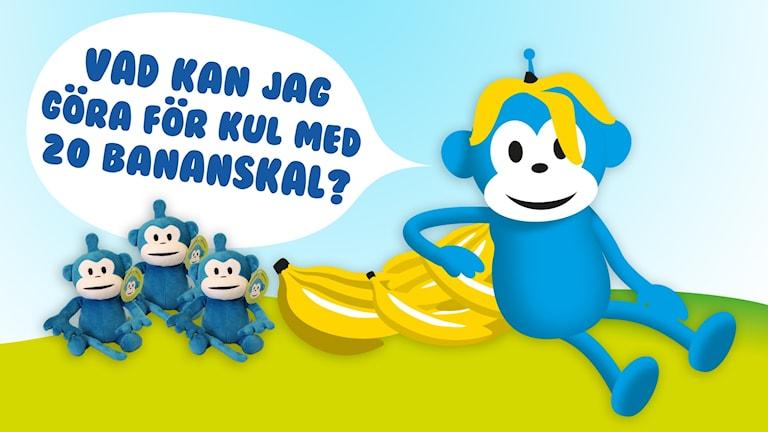 Apig tävling, Radioapan säger: Vad kan jag göra med 20 bananskal?