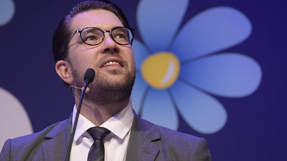 Jimmie Åkesson håller tal på SD:s landsdagar.