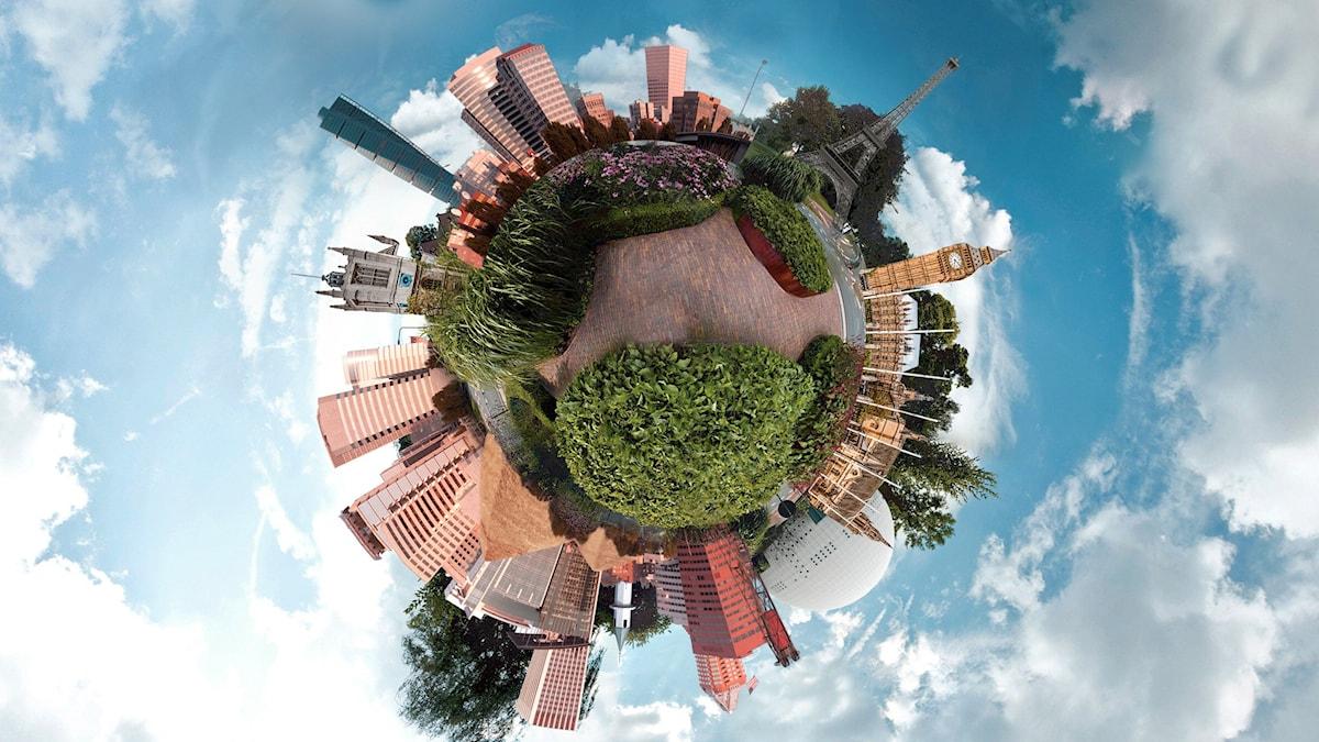 Panoramabild visar landmärken från runt om i världen.