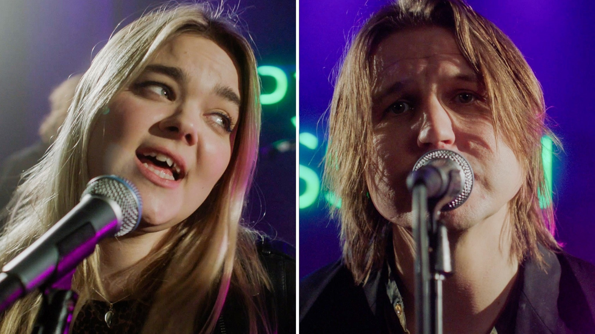 Klara Söderberg från First Aid Kit och Markus Krunegård står och sjunger i direktsändning på P3 Sessions scen.