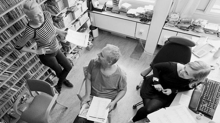Musikredaktörerna Germund Stenhag Karin Gunnarsson Linda Nordeman Foto: Sveriges Radio