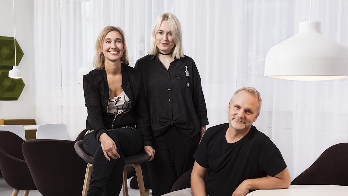 Linda Nordeman, Mari Hesthammer och Germund Stenhag som är P3:s musikredaktörer.