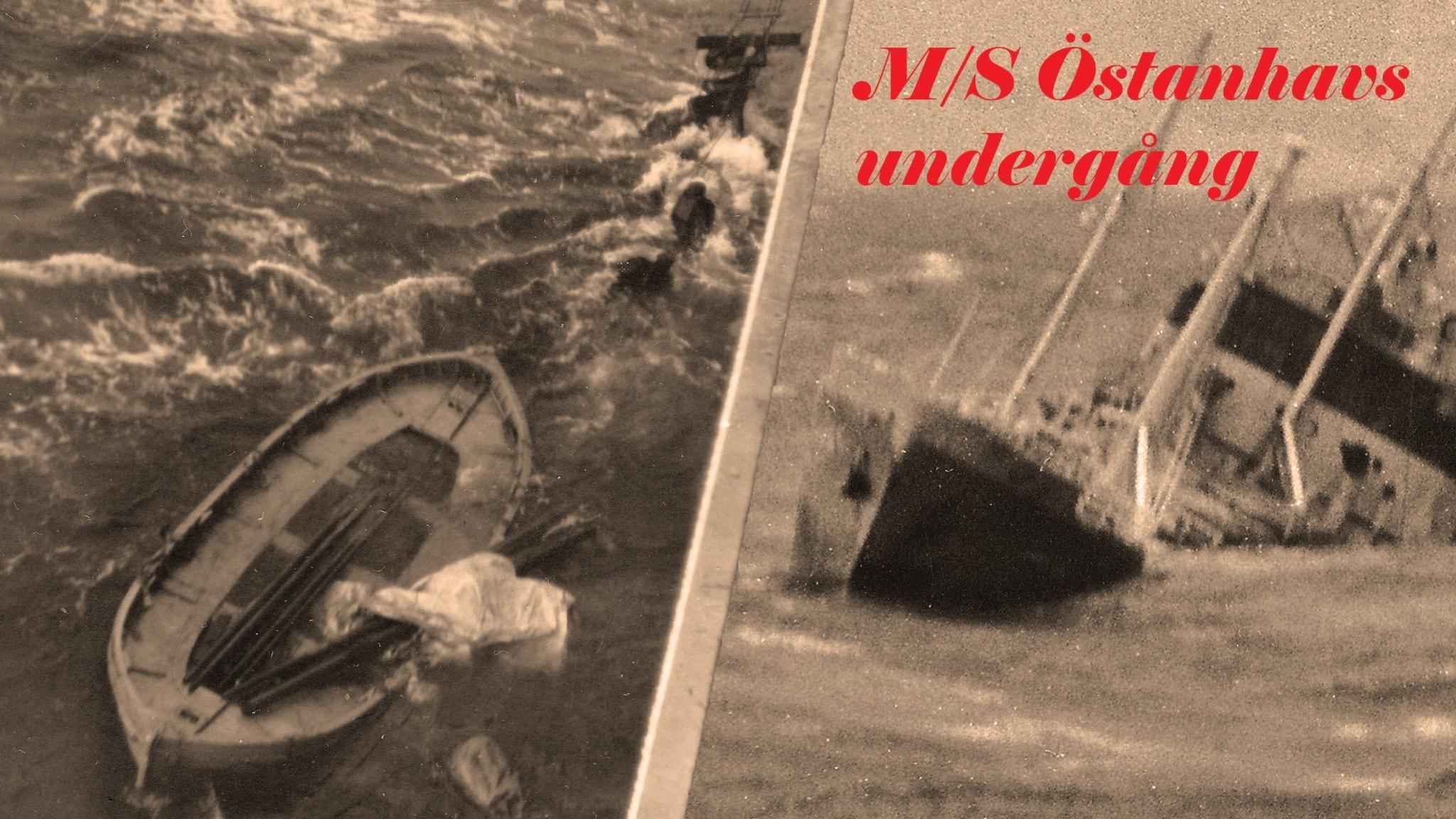 Bild på besättningsmän i vattnet bredvid en vattenfylld livbåt