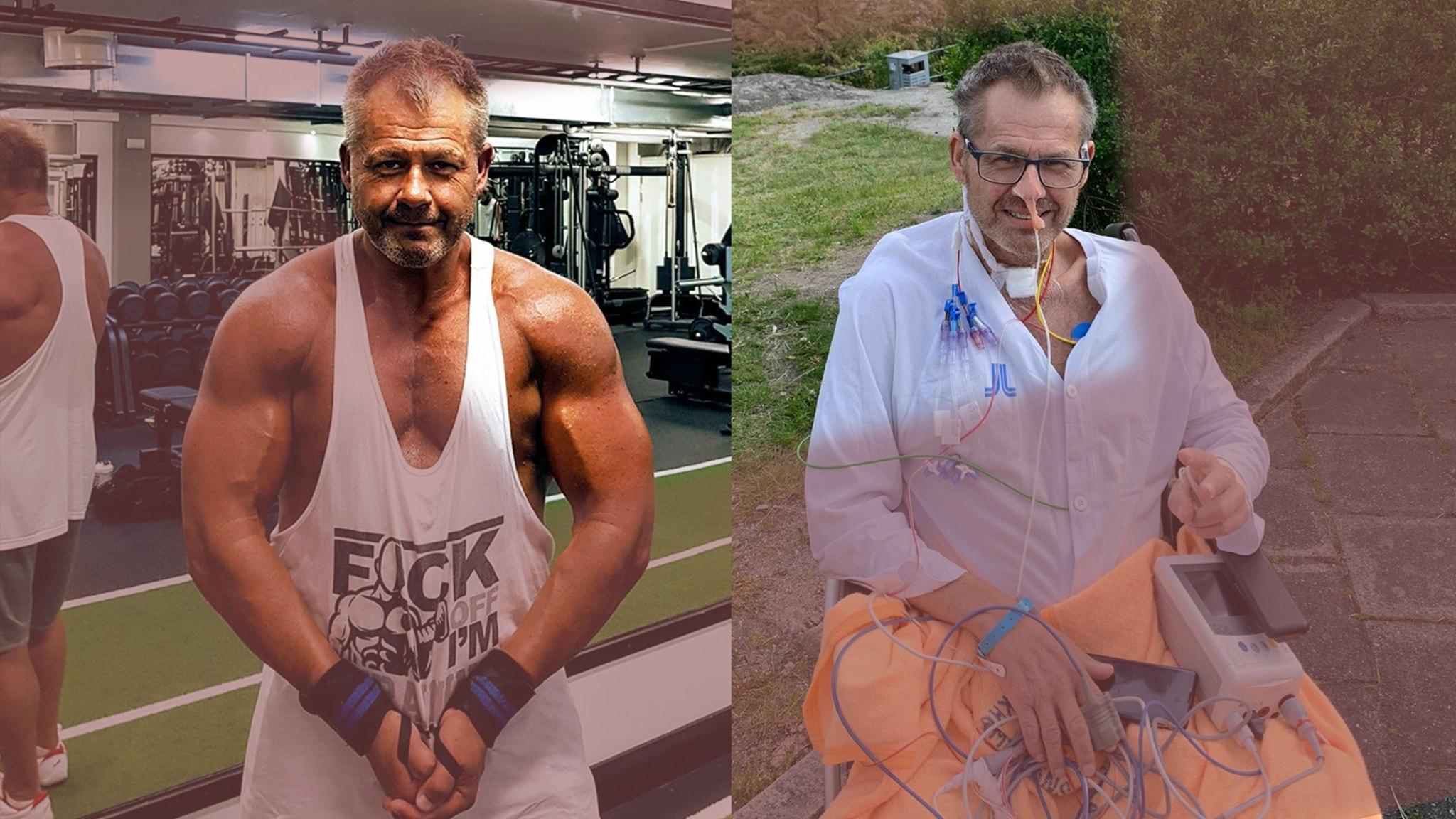 Bilder på Micael Sköldqvist före och efter Covid-19. Som kroppsbyggare och sen i rullstol.