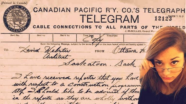 WTF är ett telegram? Foto: Anna Emanuelsson/Sveriges Radio och Wikimedia commons/R. B. Bennett
