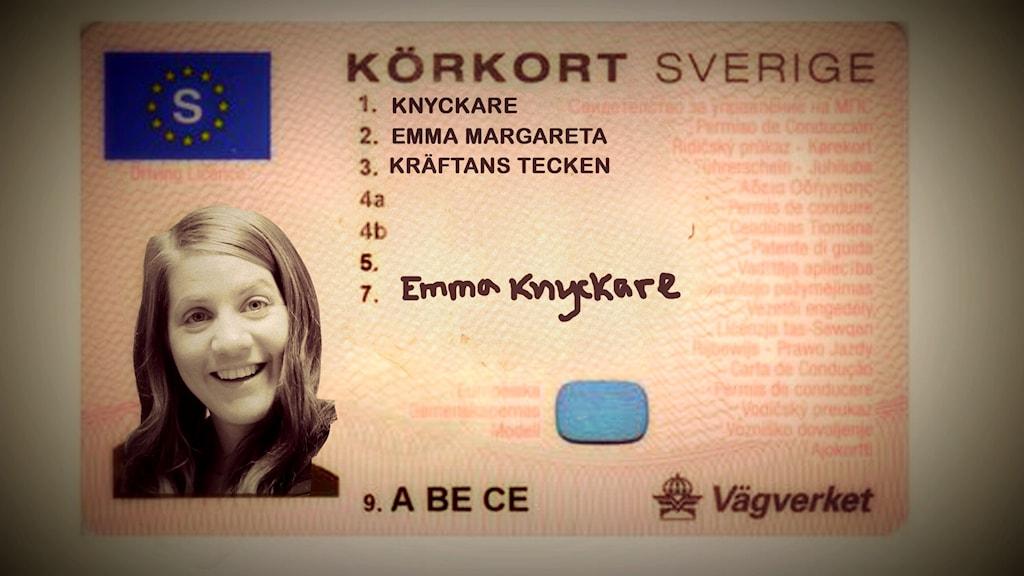 Emmas körkort ser väl ut såhär när det är klart .. kan man tänka sig! Foto: Anna Emanuelsson/Sveriges Radio
