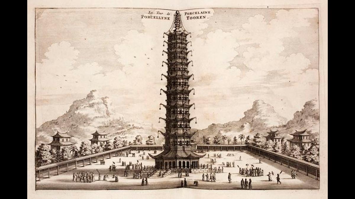 Torn i porslin. I Nanjing. bild av Johan Nieuhof (1618-1672)