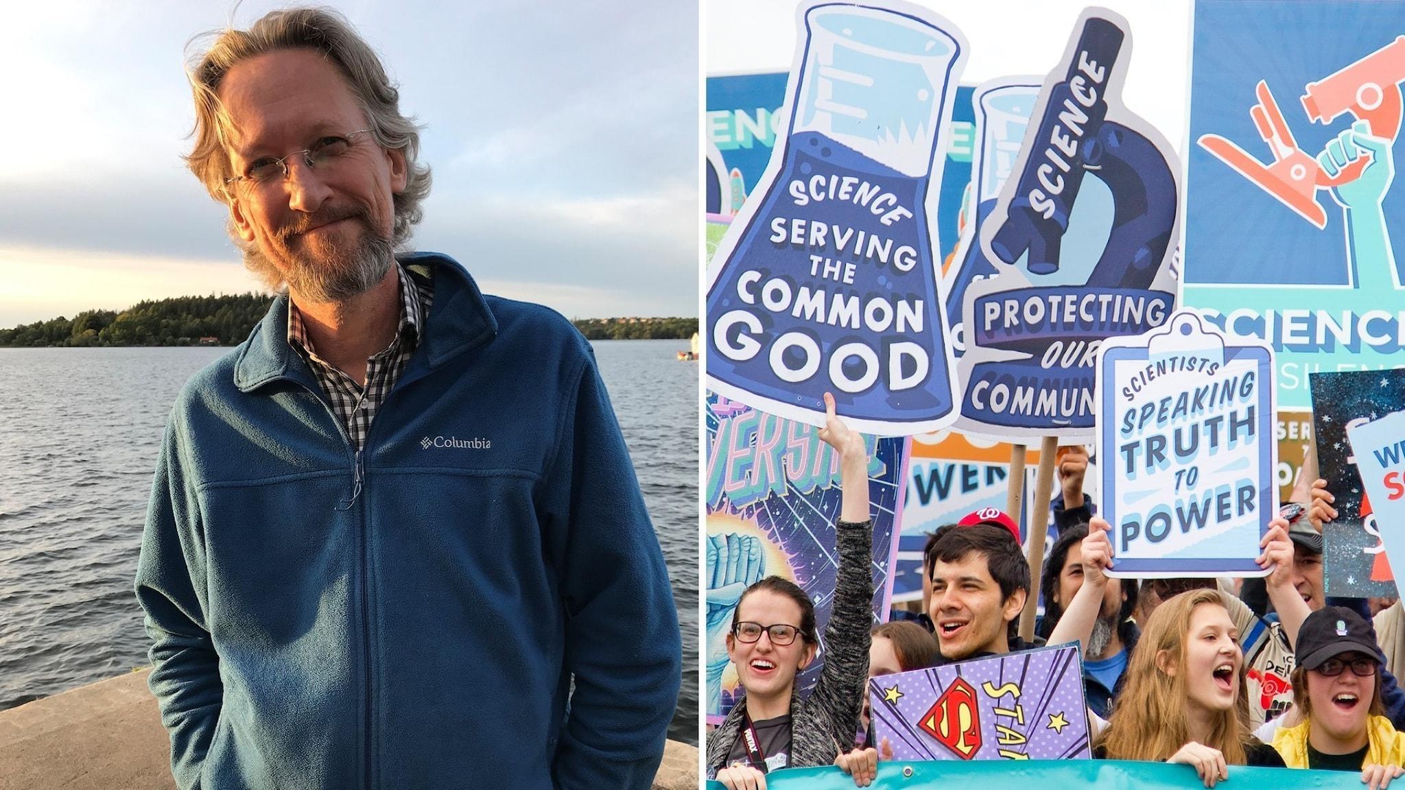 En bild av David Östlund, och en av demonstranter för vetenskap i USA.