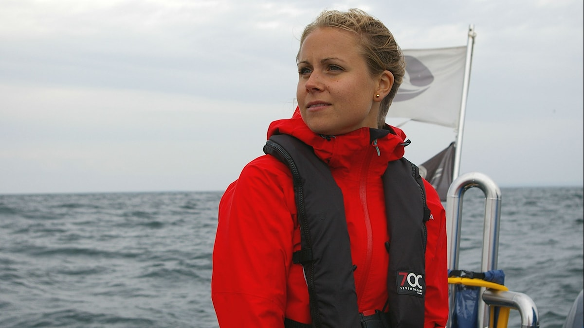 Johanna Stedt på båt i Öresund