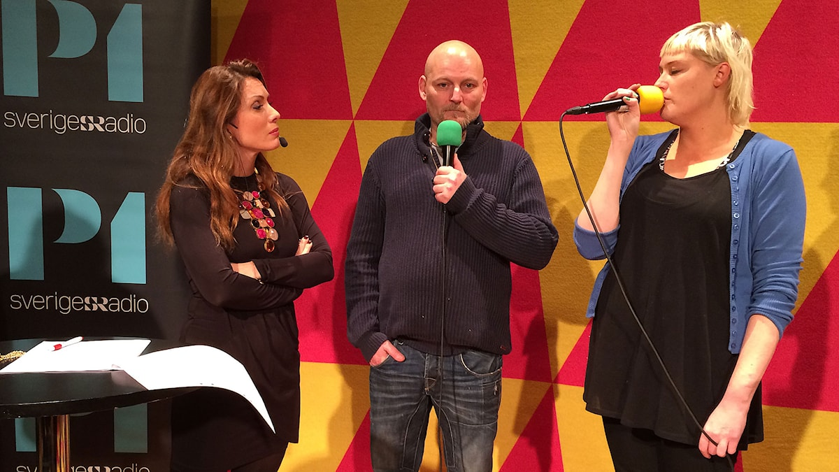 Alexandra Pascalidou, Håkan Hemlin och Ann-Sofie Lilja i P1 Debatt om knark i Sverige. Foto: Sveriges Radio