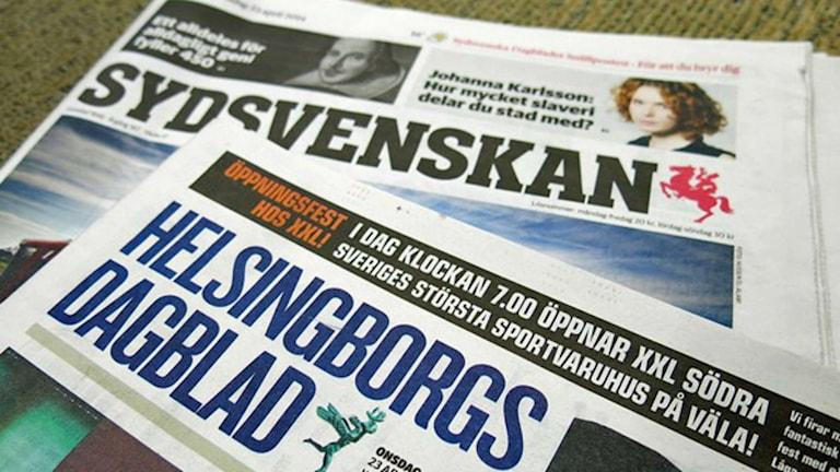 bild på Helsingborgs dagblad och Sydsvenskan. Foto: Karin Olsson-Bendix/Sveriges Radio