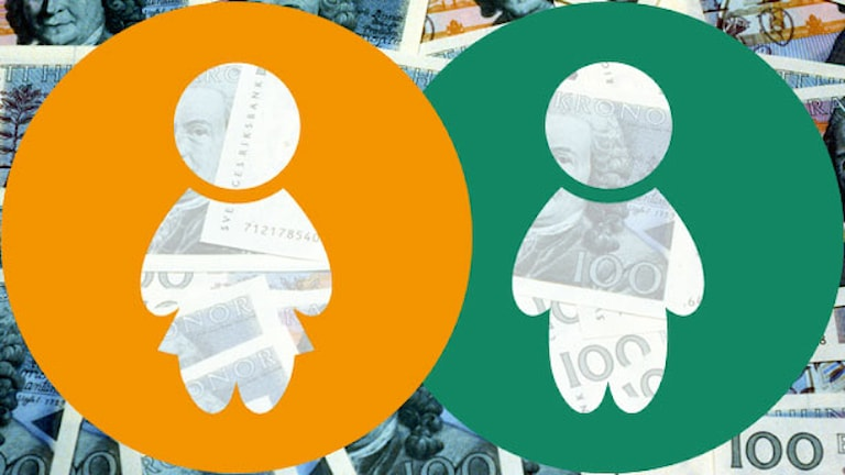 Symbol för man och kvinna över högar av pengar. Grafik: Sveriges Radio.