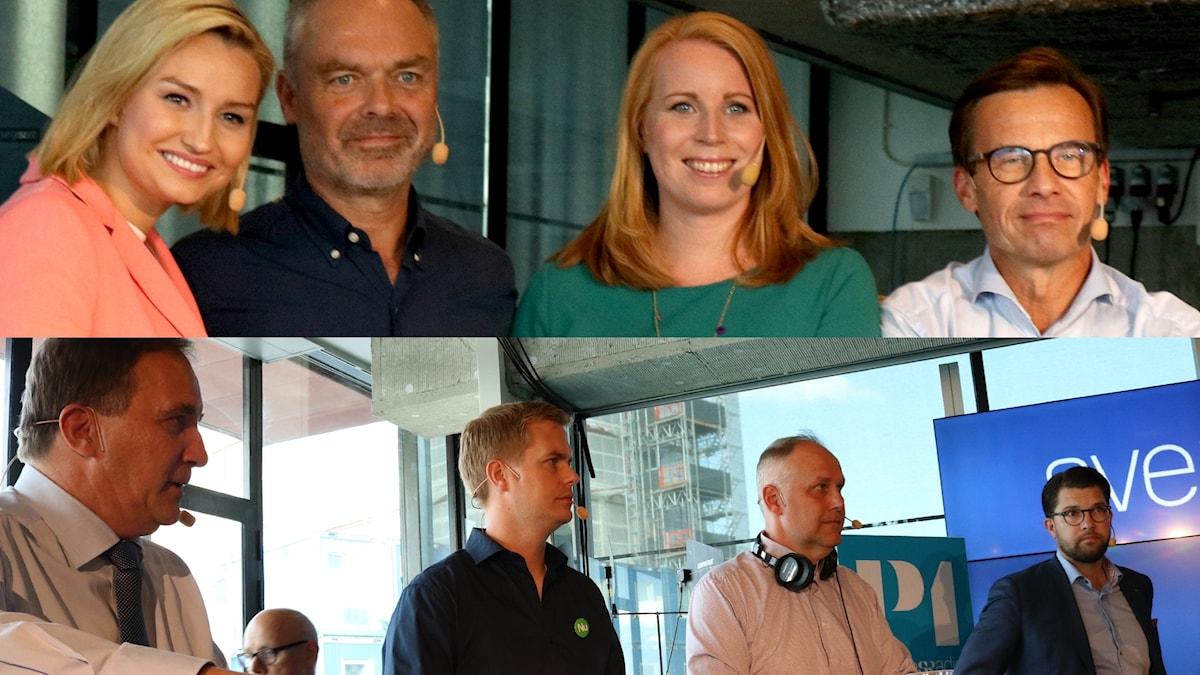 Ebba Busch Thor, Jan Björklund, Annie Lööf, Ulf Kristersson, Stefan Löfven, Gustav Fridolin, Jonas Sjöstedt, Jimmie Åkesson.