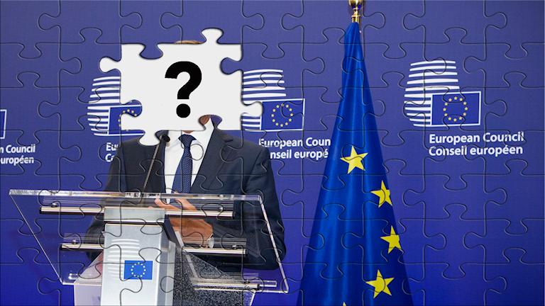 Pusselbild av en man som står bredvid en EU-flagga, men där pusselbitarna vid ansiktet saknas.