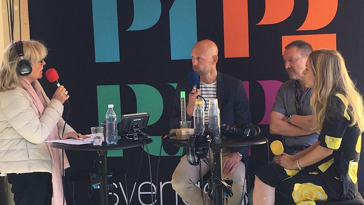 Helena Groll modererar en debatt mellan Jörgen Huitfeldt, Björn Löfdahl och Malin Ekman.
