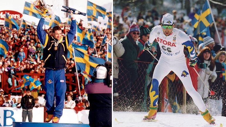 VM 1993 i Falun: Torgny Mogren tar guld på 50 kilometer. Foto: Jan Collisöö och Anders Wiklund/TT