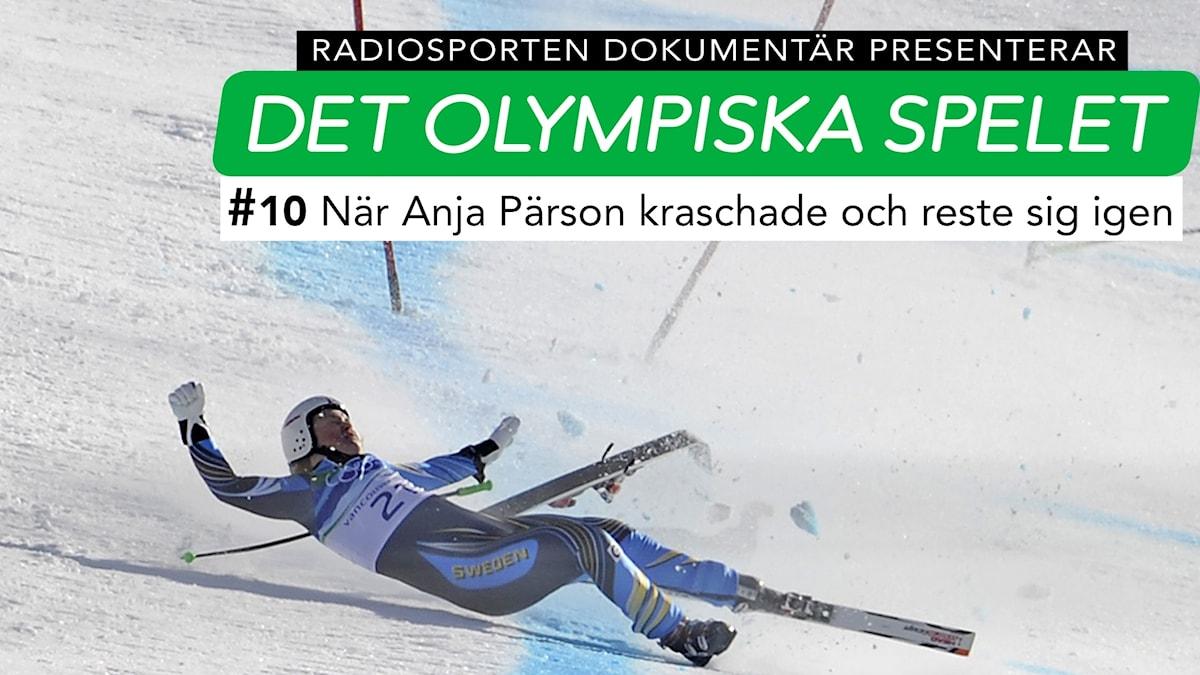 Anja Pärson kraschar i Vancouver-OS 2010.