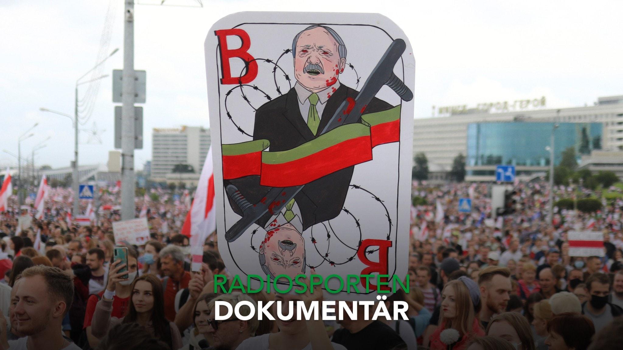 Protester mot Belarus president Alexander Lukashenko.