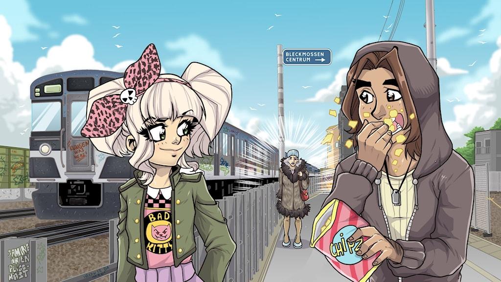 Tunnelflickan, del 1 - Siri och Amir vid tunnelbanan