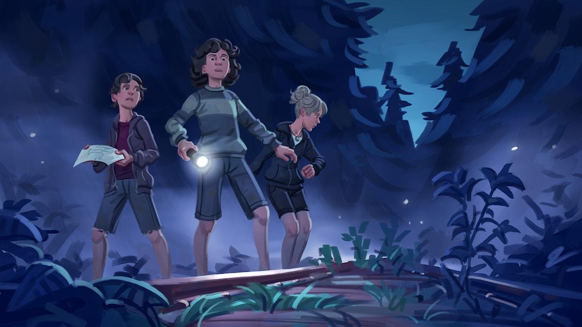 Spöktåget, del 3 - kompisarna är ute i skogen på natten. Bild: Mats Minnhagen