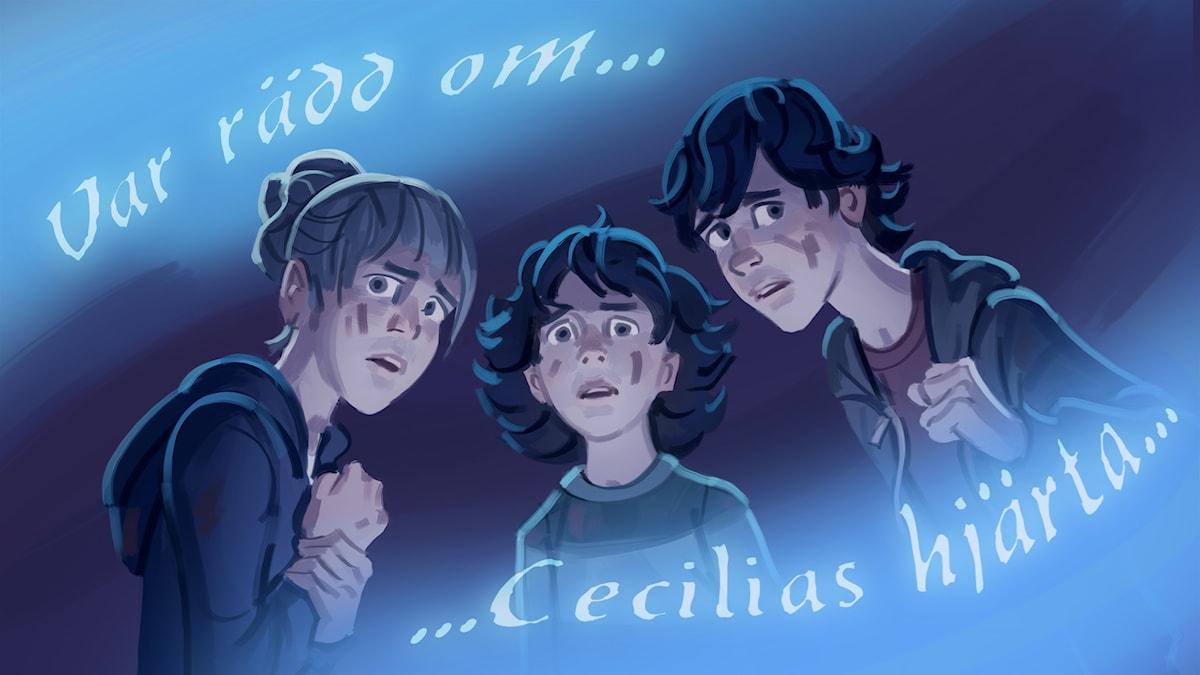 Spöktåget, del 4 - Simona, Billie och Aladdin hör viskningar. Bild: Mats Minnhagen