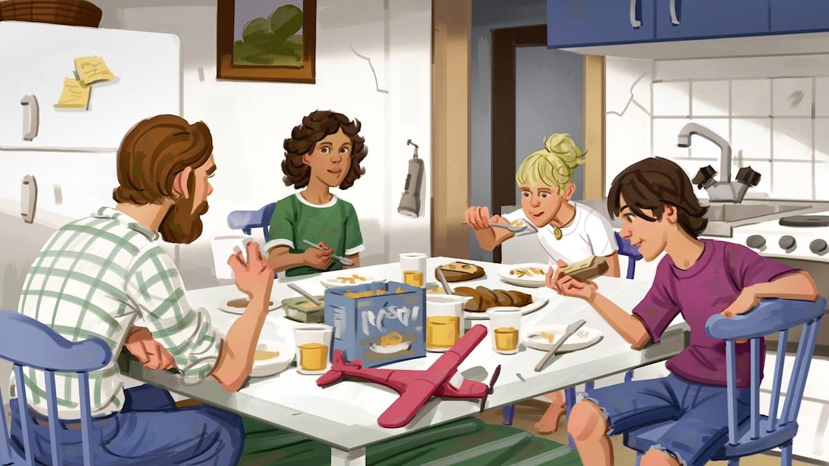 Spöktåget, del 2 - frukost hemma i köket hos farbror Anton. Bild: Mats Minnhagen