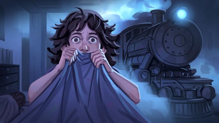 Spöktåget, del 1 - Billie vaknar på natten och hör ett tåg. Bild: Mats Minnhagen