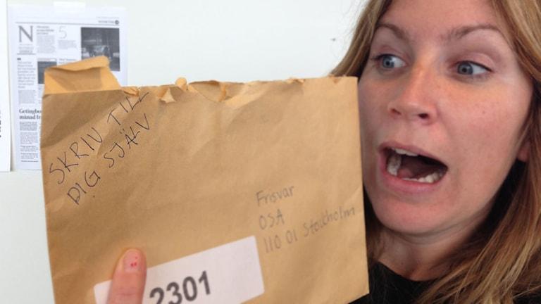 Hanna Andersson är tjejen i bilden som skrivit brevet.