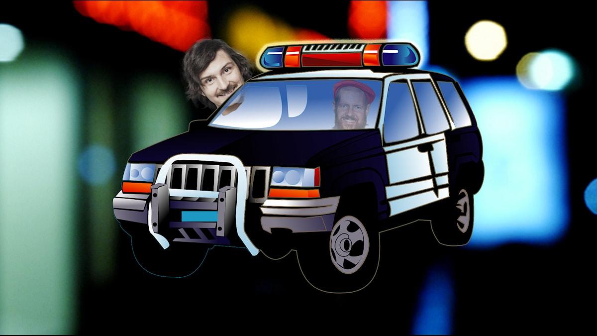 Christer och Morgan i polisbil1