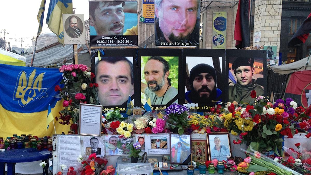 Foton på döda demonstranter, Kiev.