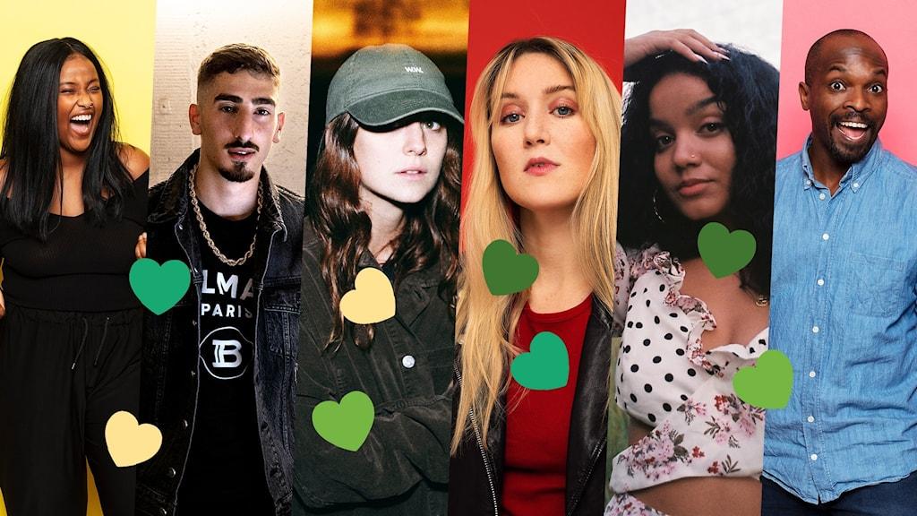 Pressbilder på Ayan Jamal, Ricky Rich, Hanna Järver, Myra Granberg, Zikai och Kodjo Akolor