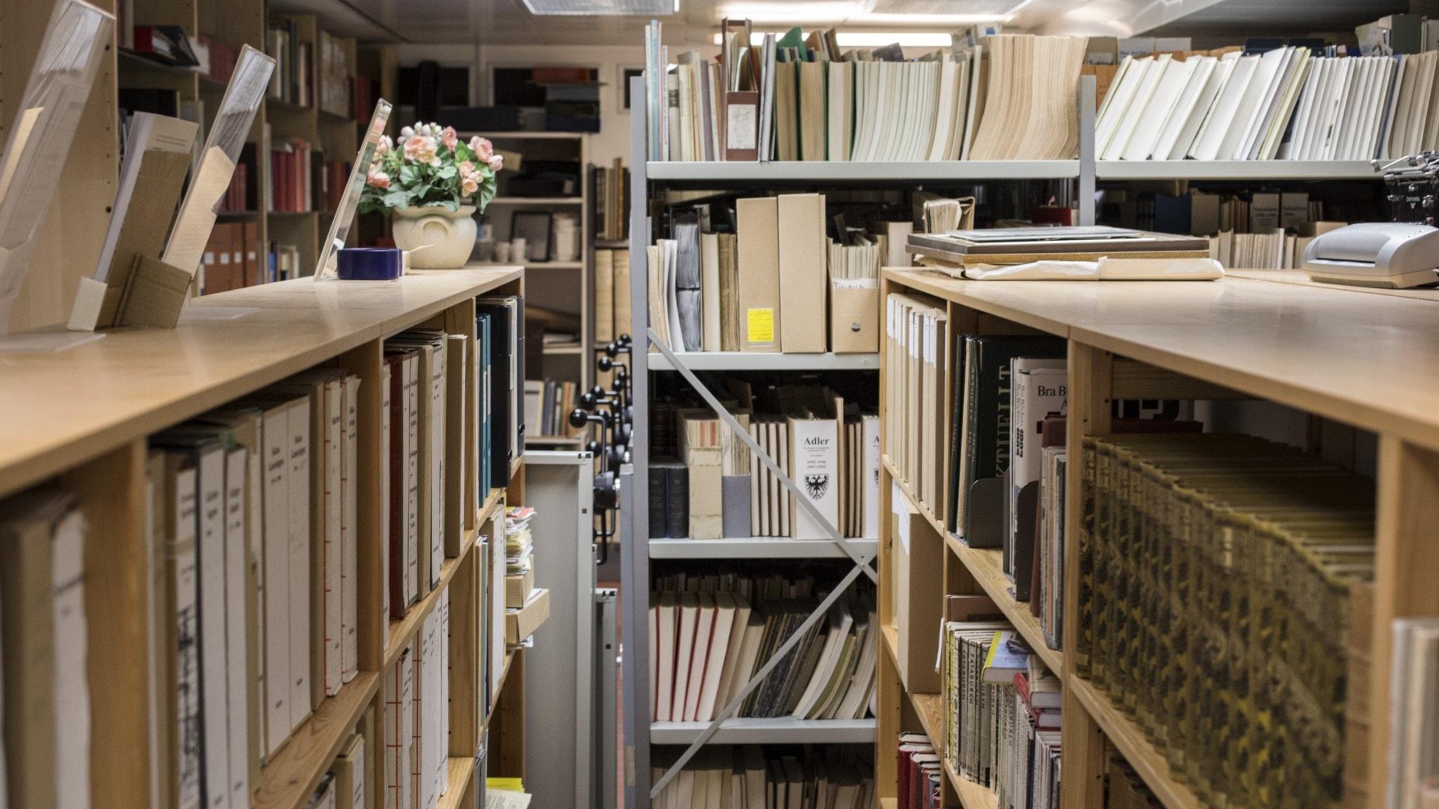 Ett arkiv med böcker.
