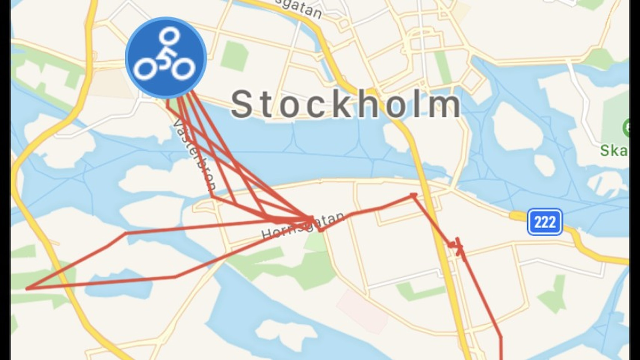 En karta över hur vår stulna cykel rört sig i Stockholm.