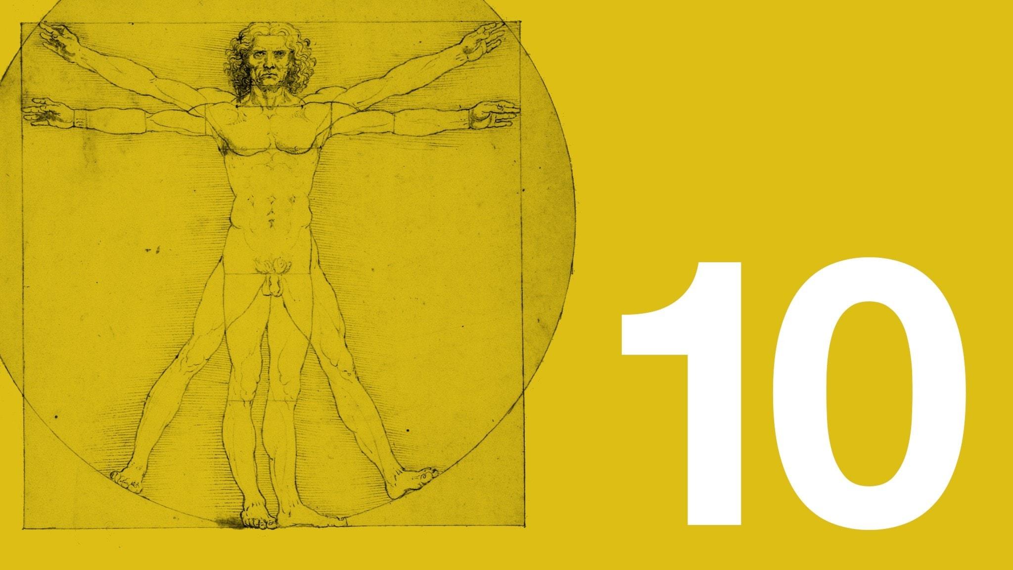 Bilden visar ett utsnitt av Leonardo da Vincis teckning den vitruvianske mannen, som ofta har fått stå som sinnebild för människans ideala proportioner. Teckningen är till vänster i bild. Bakgrundsfärgen är ockragul. Längst ner till höger syns en vit tia.