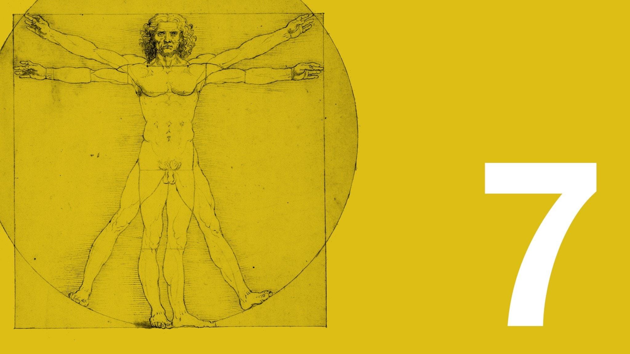 Bilden visar ett utsnitt av Leonardo da Vincis teckning den vitruvianske mannen, som ofta har fått stå som sinnebild för människans ideala proportioner. Teckningen är till vänster i bild. Bakgrundsfärgen är ockragul. Längst ner till höger syns en vit sjua.