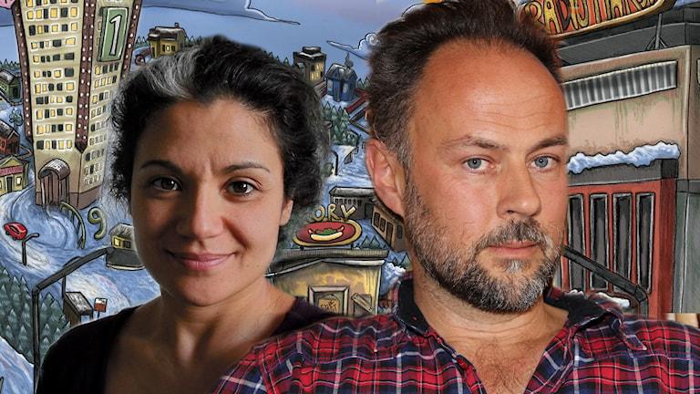 Aziza Dhaouadi och Andreas Lindgren har skrivit årets julkalender High Tower. Foton: Sveriges Radio, illustration: Anna Westin.