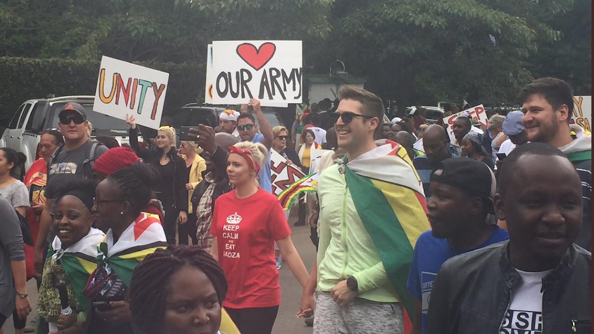 Flaggor, plakat, tutande bilar. Zimbabwier demonstrerar. Armén står och tittar på.