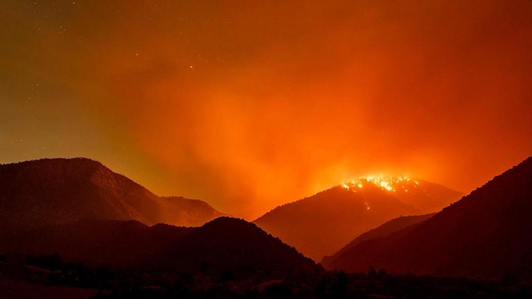 Skogsbrand i Kalifornien nattetid.