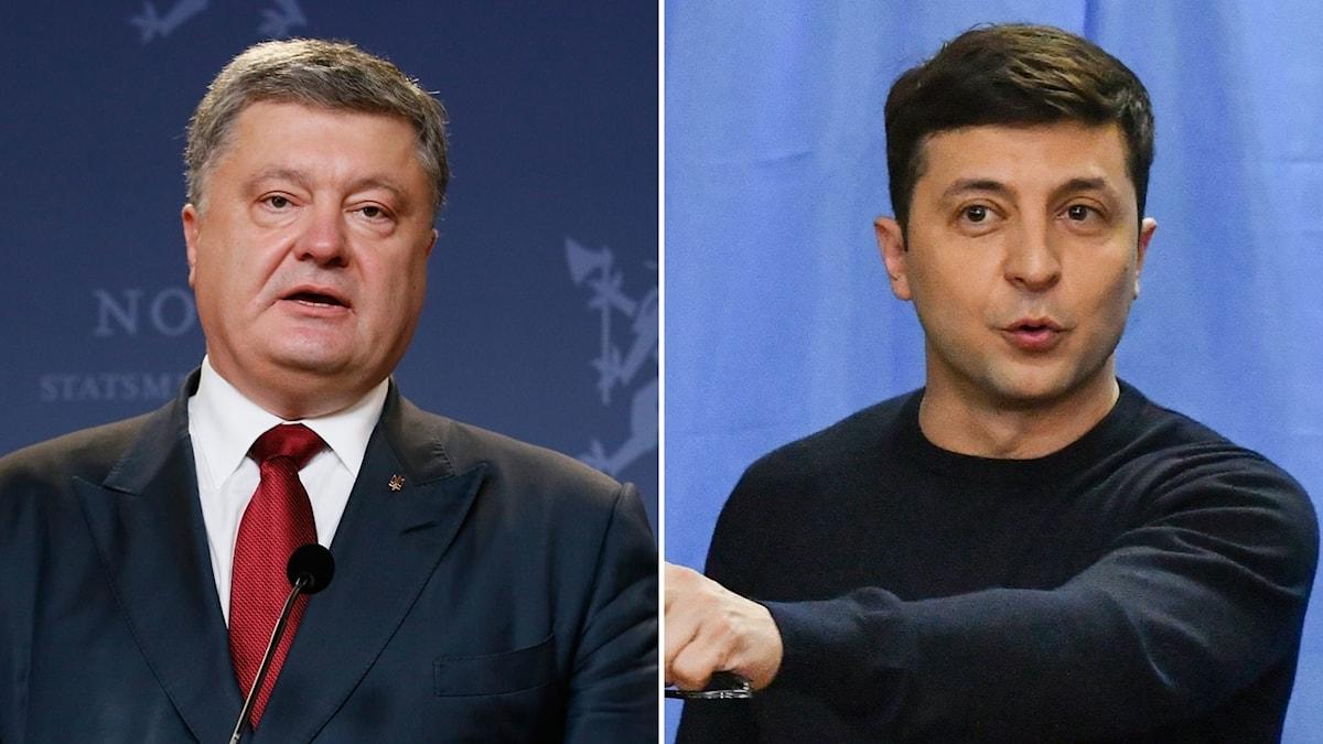 Utmanaren komikern Volodymyr Zelenskyj och den sittande presidenten Petro Porosjenko tycks vara det två kandidater som går vidare till en andra omgång i presidentvalet i Ukraina.