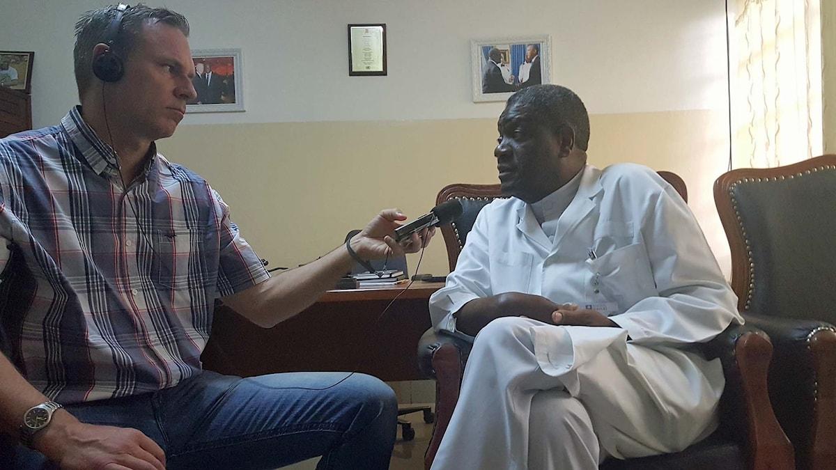 Richard Myrenberg träffade fredspristagaren Denis Mukwege i Bukavu i Kongo 2016.