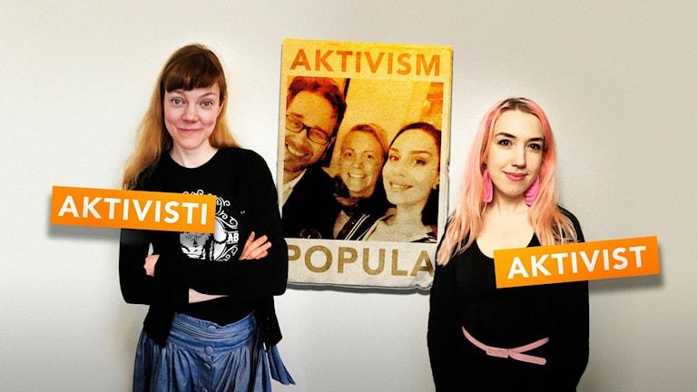 Sini Saarela och Minerva Ekrelius med programledarna Erkki Kuronen, Julia Wiræus och Jasmin Lindberg infällda i en affisch som hänger mellan dem.