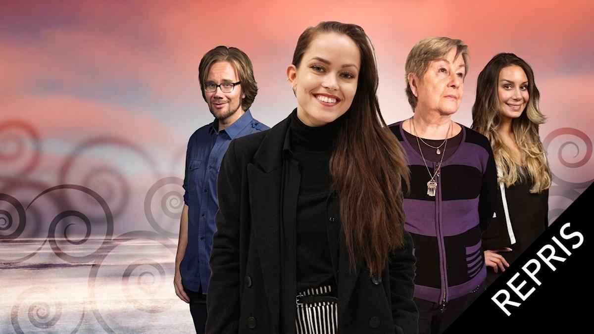 Skivaktuella artisten Amanda Mair längst fram, på hennes vänstra sida Wuokko Knocke som föddes i Finland men växte upp i krigets Tyskland. Populas programledare Erkki Kuronen och Jasmin Lindberg på var sin sida.