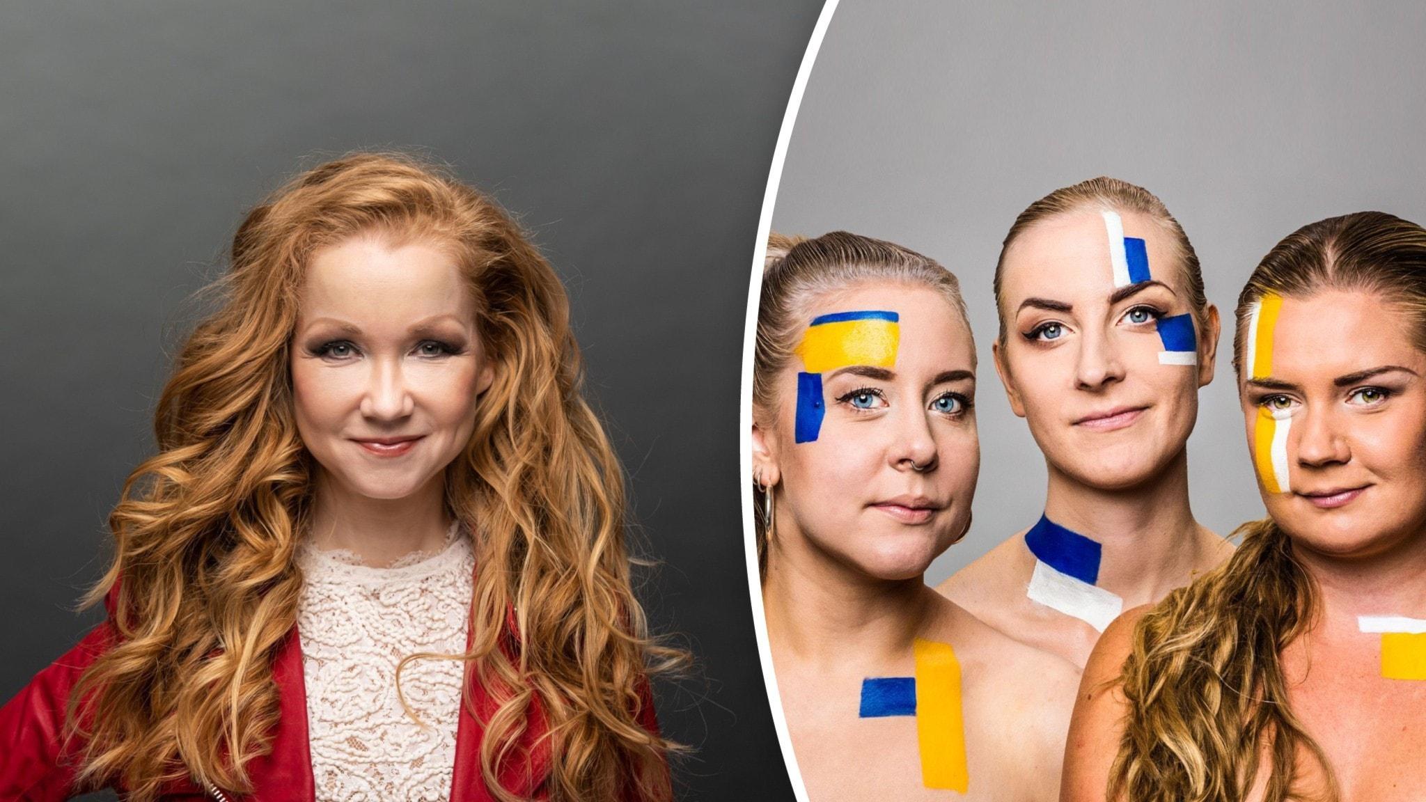 Jaettu kuva jossa Angela Ahola on vasemmalla ja Populan juontajat ovat oikealla.