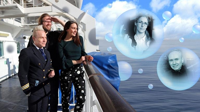 Matti Rockell, Erkki och Jasmin står på Gabriellas däck och tittar ut över ett hav där bubblor svävar. I bubblorna syns kvällens två andra gäster, Silja Levander och Pär Engsheden.