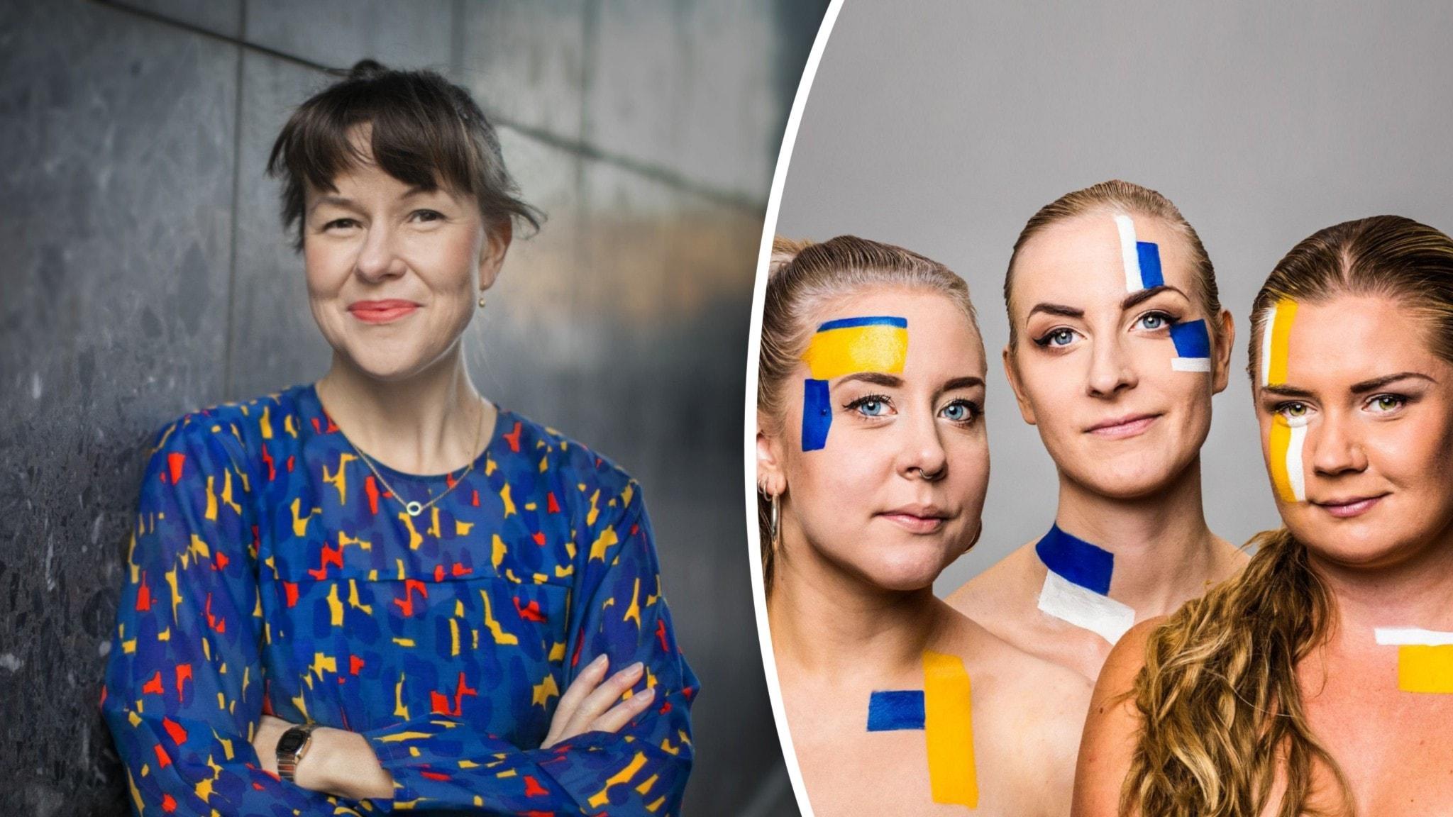 Till vänster Heidi Liekola och till höger är det Sanna Laakso, Meimi Taipale och Natalie Minnevik. Populas programledare sminkade i sverigefinska färger.