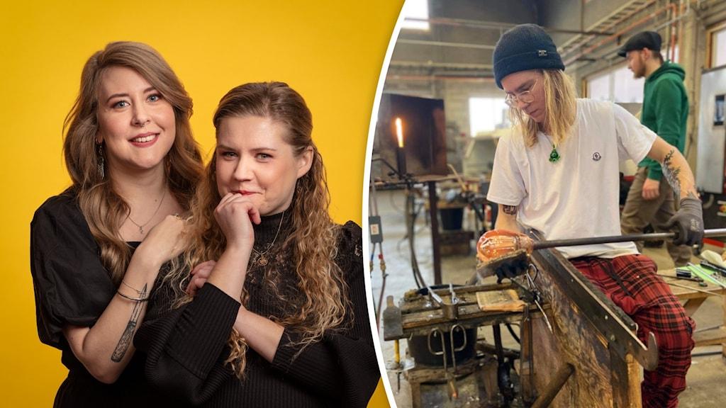 Populas programledare Sanna Laakso och Natalie Minnevik tillsammans med glasblåsaren Jani Kaski.