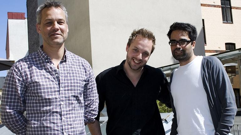 Henrik Schyffert, Robin Paulsson, David Batra. Foto: Kristin Montagu-Evans/Sveriges Radio.